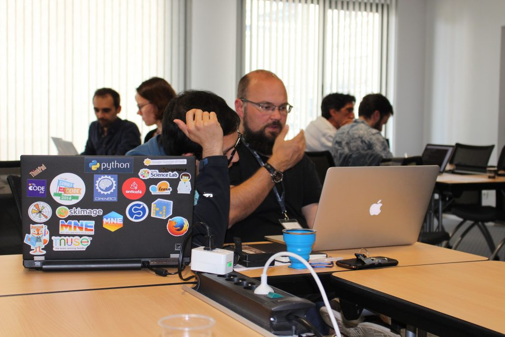Group work during a hacking session.