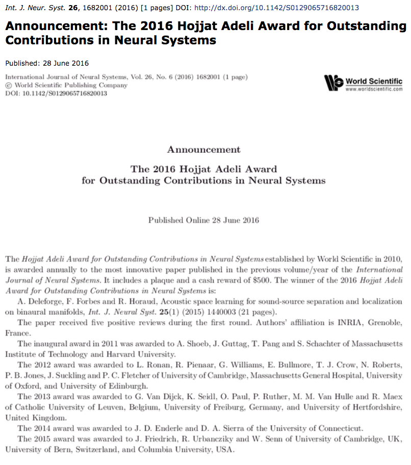 2016 Award for Outstanding Contributions in Neural Systems! |