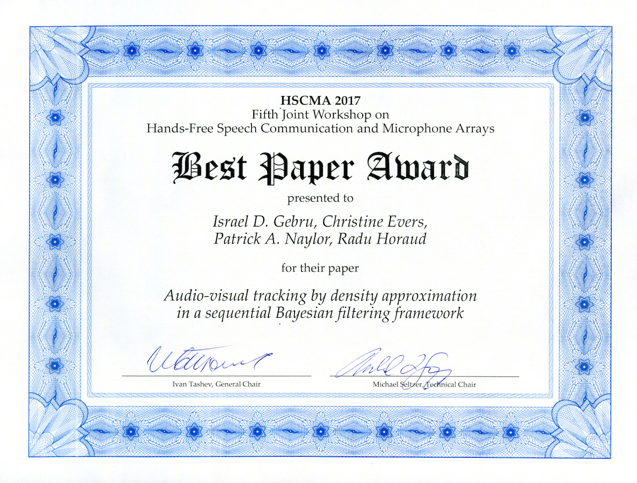 best paper award speech and audio processing group