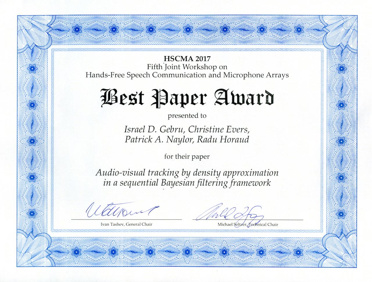 Best Paper Award HSCMA 2017