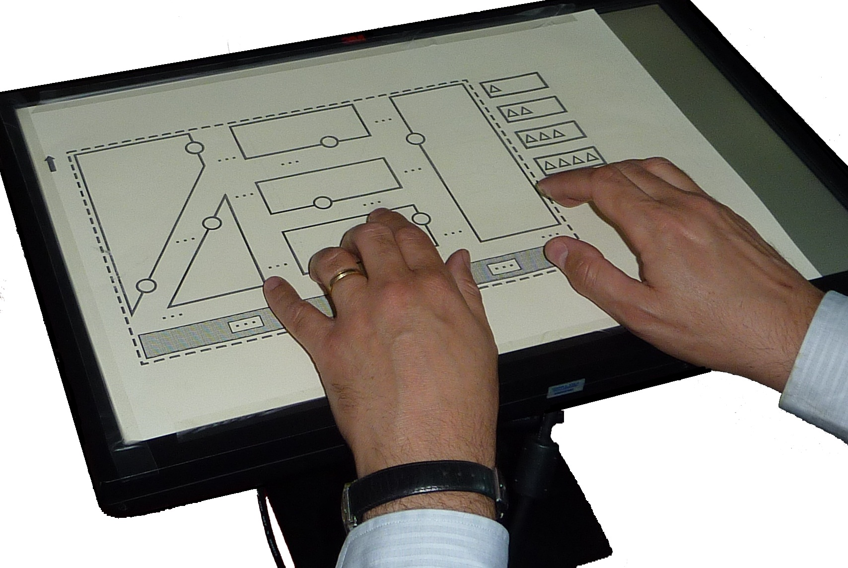 accessible interactive map: multi-touch screen with map overlay